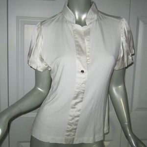 KAREN MILLEN Cream Silk Trim Puff Sleeve Blouse 10